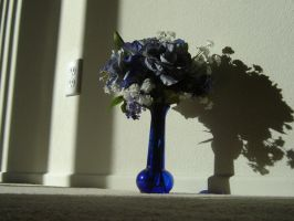 Blue vase with flowers by annora-stock