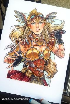Steampunk Valkyrie Commission by KelleeArt