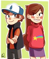 Dipper and Mabel - Gravity Falls by bibinella1994