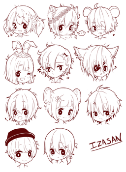 R: Sketch Heads by izasan