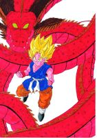 Dragonball - Son Goku and Shenron by TravTheMad