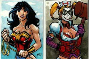 Wonder Woman and Harley Quinn ACEO sketch cards by MasonEasley