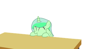 Happy filly Emerald by a table by PokemonBWishesCilan