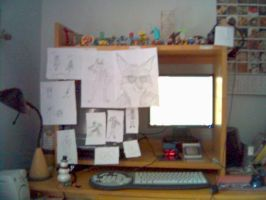My desk before I draw by Captain-Nintendork