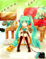 Game girl Miku by Cheesecake-giri