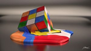 Melting Rubiks Cube by SaphireSouldier