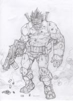 Sketch B.A.M.F.: 90's Image Comics Character by JoeWillsArt