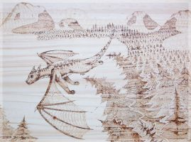 Malcolm 'Flying above the Treetops' Pyrograph by FelineMyth