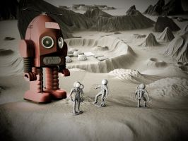 Thunder Robot and Toy Spacemen by sicklilmonky