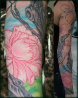 Tattoo of Tree and Flowers by ragdollgrl13