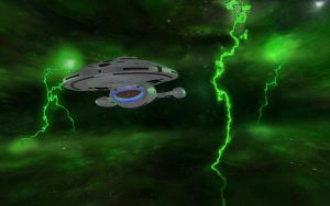 Voyager passing green Nebula by Energy6