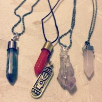 Gemstone/crystal necklaces by CremexButter