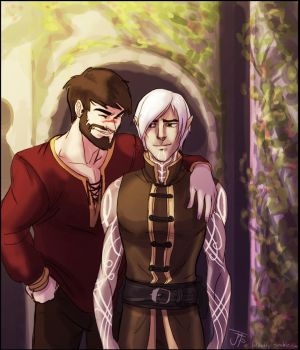 Commission: Hawke and Fenris by Gone-Batty