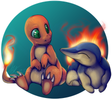 Pokemon - Charmander and Cyndaquil by ZaidaCrescent
