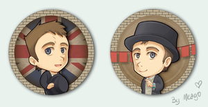 Damon Albarn fake button set by meago