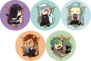 Death Parade buttons by hasuyawn