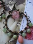 wire wrapped hoops with onyx, coral and chalcedony by Lirimaer86