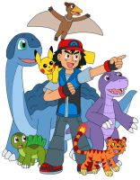 Ash and his Pokemon in Denvair by MCsaurus
