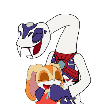 Cream hugs Pythor by Tyrannosaurus-Rulez
