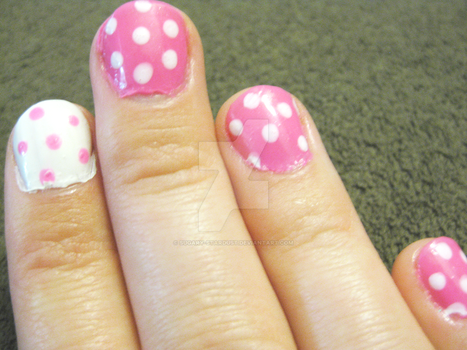Pink Polka Dot Nails by Sugary-Stardust