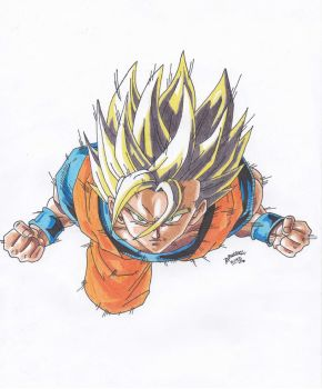 Dragonball Z - Goku flying in search of Kuroodo!!! by TriiGuN