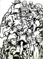 TWEWY Group Photo Lineart by LunaBenihime