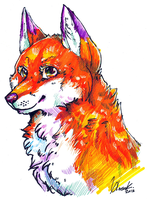 mixed media fox by amidst