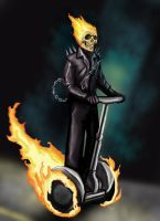 Ghost Rider on a segway by HeroforPain