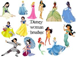 Disney woman brush set by Otakuvampire