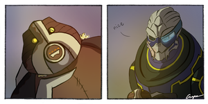 Very old toy ''Volus'' and Garrus by SashaGrape