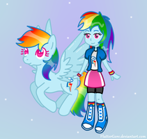 Double Rainbow! (MLP+EQG) by FlutterGore