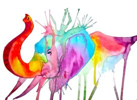 Rainbow Elephant Commission by LucyLooStudios