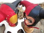 Leather Harley Quinn Hood and Aviator Together! by LeatherHead72