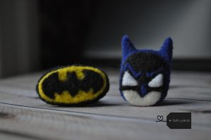 Batman + logo needle felt by FluffyParcel