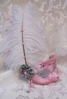 Pink And Silver Brocade Mask White Ostrich Feather by DaraGallery