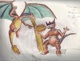 charizard vs greymon by megamike75