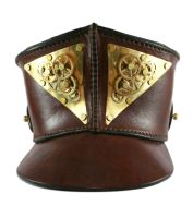 STEAMPUNK LEATHER SHAKO - polished brass and gear2 by AmbassadorMann
