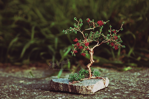 Tree with red flowers by beads-poet