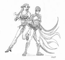 Robin and Wondergirl Pencils by The-Moocat
