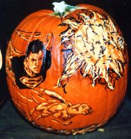 Superboy and Krypto Pumpkin by rjclrutter