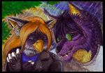 ACEO trade: Walking in the rain by SiberianDragon