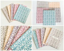 Set of 5 Assorted Colorful Damask Blank Cards by crystaland
