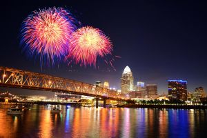 Cincinnati Skyline Fireworks by KrisVlad