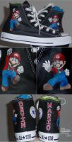 Custom Painted Mario Chucks by Paradox-Artistry
