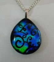 Blue Green Swirls Pendant by HoneyCatJewelry