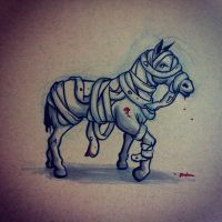 Horse wrapped in Bandages by lookhappy