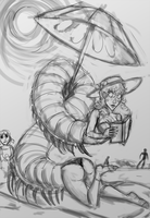 Baby at the Beach sketch by sabretoothlioness