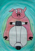 Pig Scooting by interstice-artisan