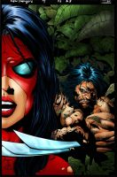 Spiderwoman and Logan by alexman26