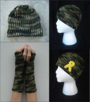 Green Camo with Support Ribbon Crafts by RebelATS